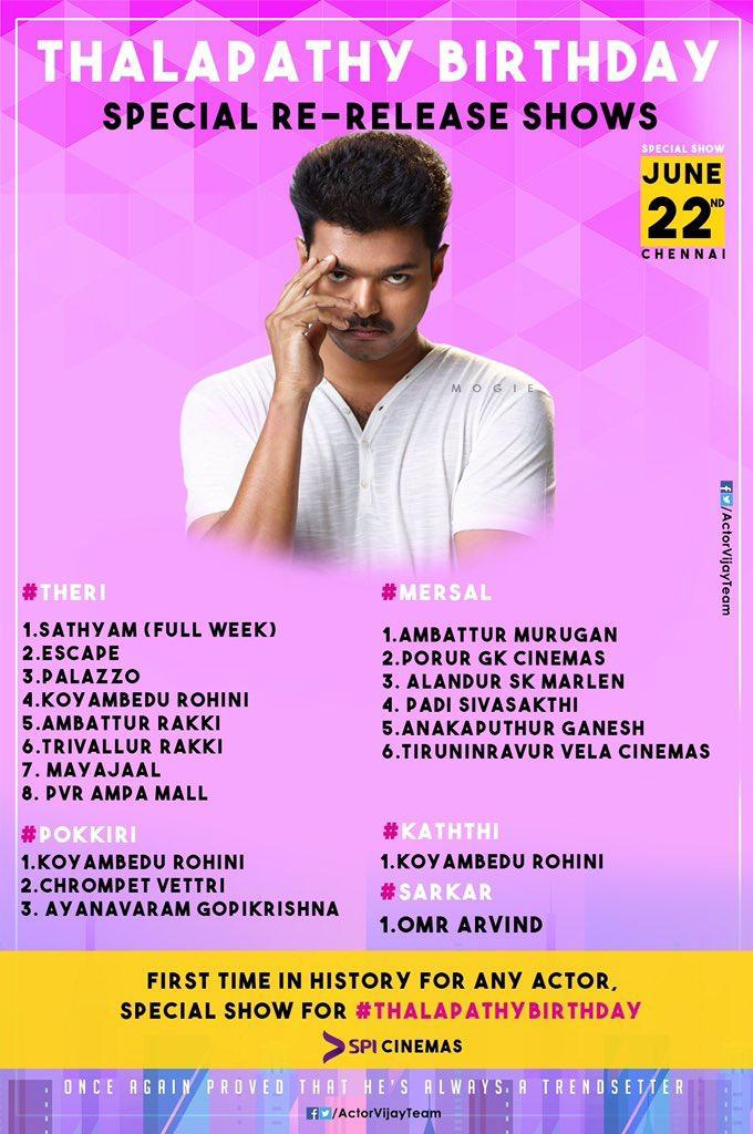 Here is the list of theaters screening special shows of #ThalapathyVijay's blockbuster films on his birthday. Interestingly for the first time in @SPICinemas history, the reputed multiplex chain to screen special shows  for an actor's birthday. <br>http://pic.twitter.com/4QrqmARMzQ