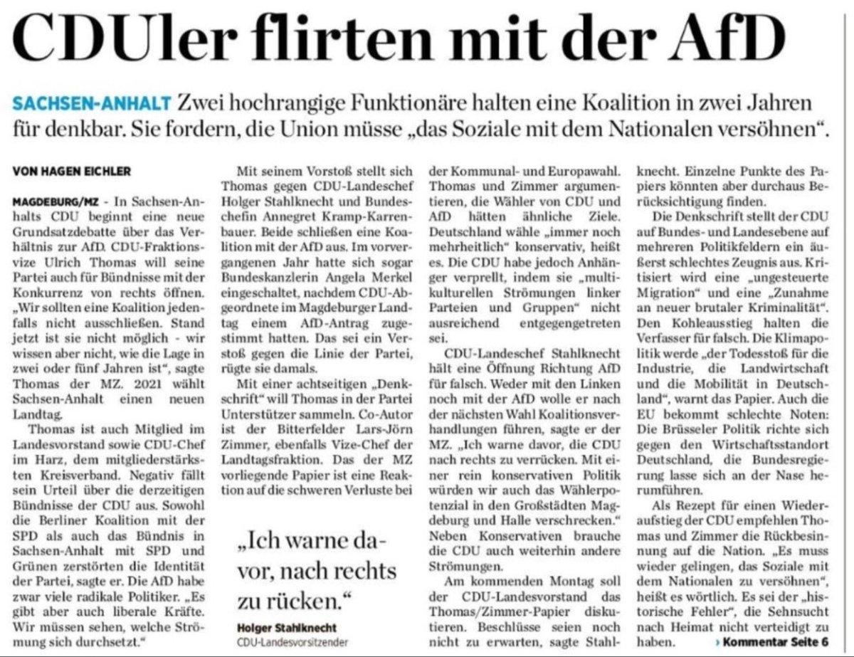"""""""Es muss wieder gelingen, das Soziale mit dem Nationalen zu versöhnen."""" CDU Sachsen-Anhalt über eine denkbare Koalition mit der AfD -  Ich hätte auch schon einen guten Namen: SOZIALNATIONALISMUS  HitlerbärtchenSmiley!"""