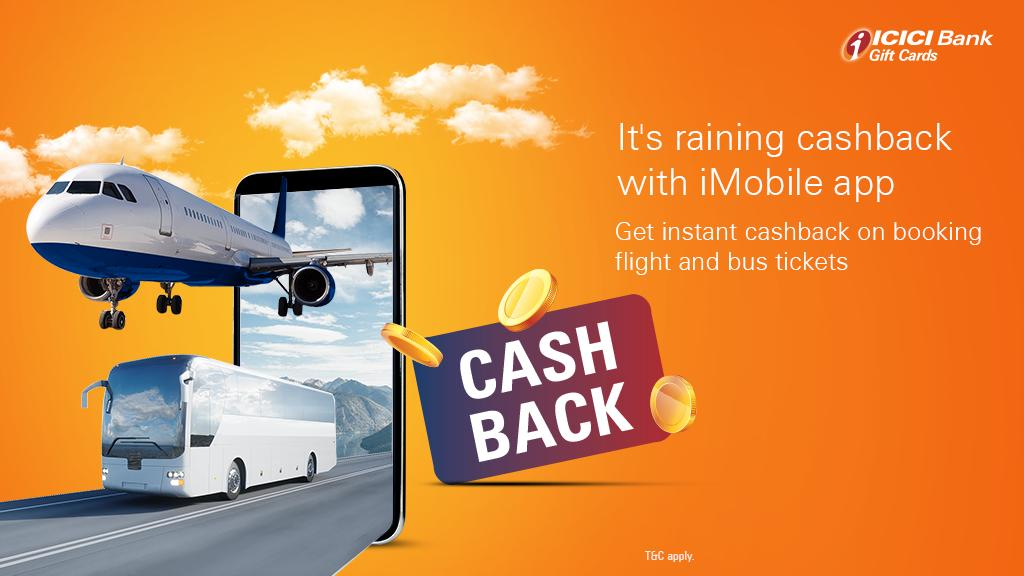 """ICICI Bank on Twitter: """"Get the best offers on travel and leisure this  #monsoon with #ICICIBank. Book flight and bus tickets using your ICICI Bank  iMobile app and avail instant cashback. Know"""
