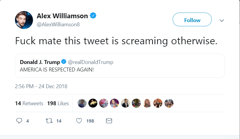 When Alex Williamson is not busy Tweeting vile/racist/bigoted/sexist Tweets, he is busy bashing @realDonaldTrump and joking about kids and sex organs ! This is one SICK mo'fo ! Of course, @Twitter/@TwitterSupport will do NOTHING !!! #FireAlexWilliamson