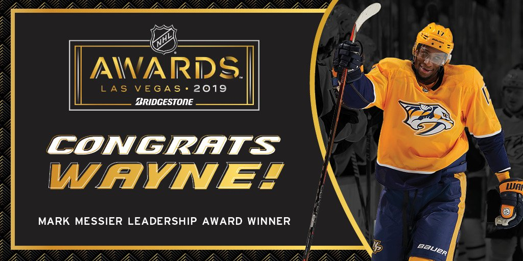 WAYNE   @Simmonds17 takes home the Mark Messier NHL Leadership Award!  #NHLAwards | #Preds<br>http://pic.twitter.com/8l4tlXMCSv