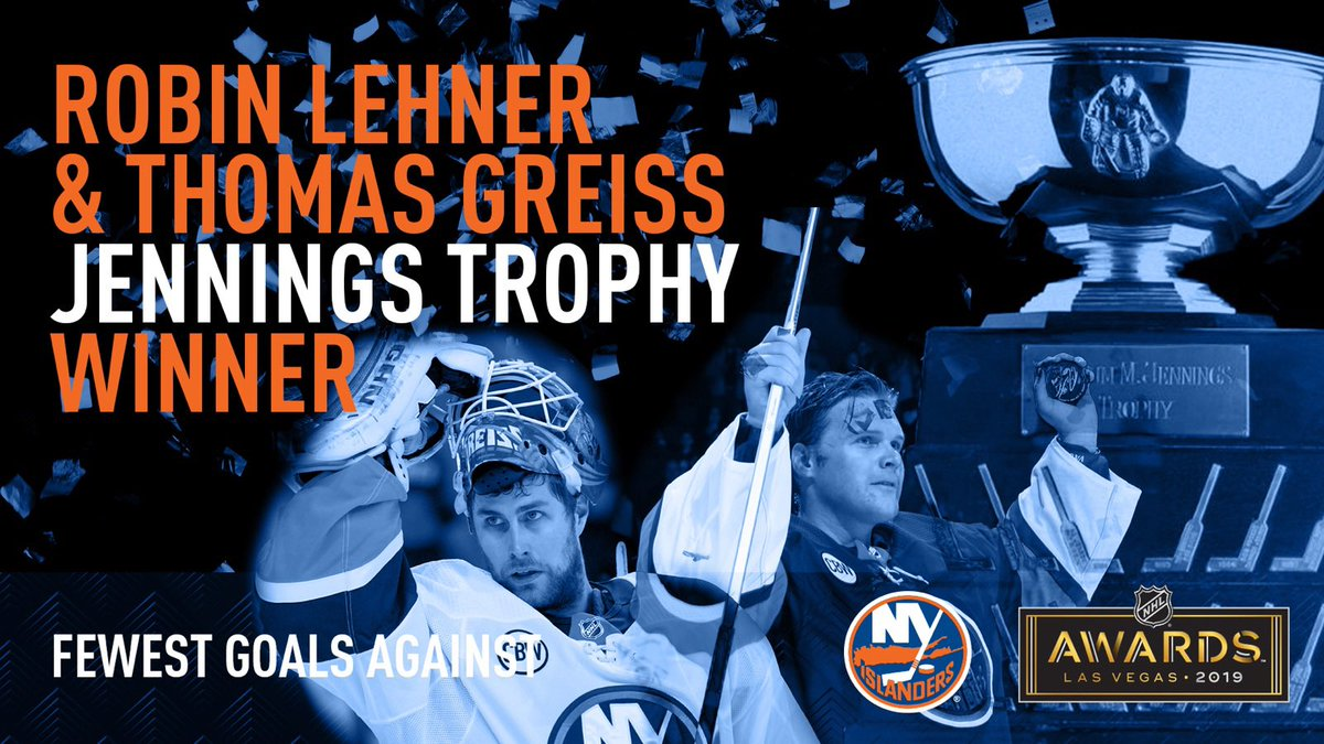 Your 2019 William M. Jennings Trophy winners. 🙌🏆👏  What a year for @RobinLehner and Thomas Greiss! #NHLAwards