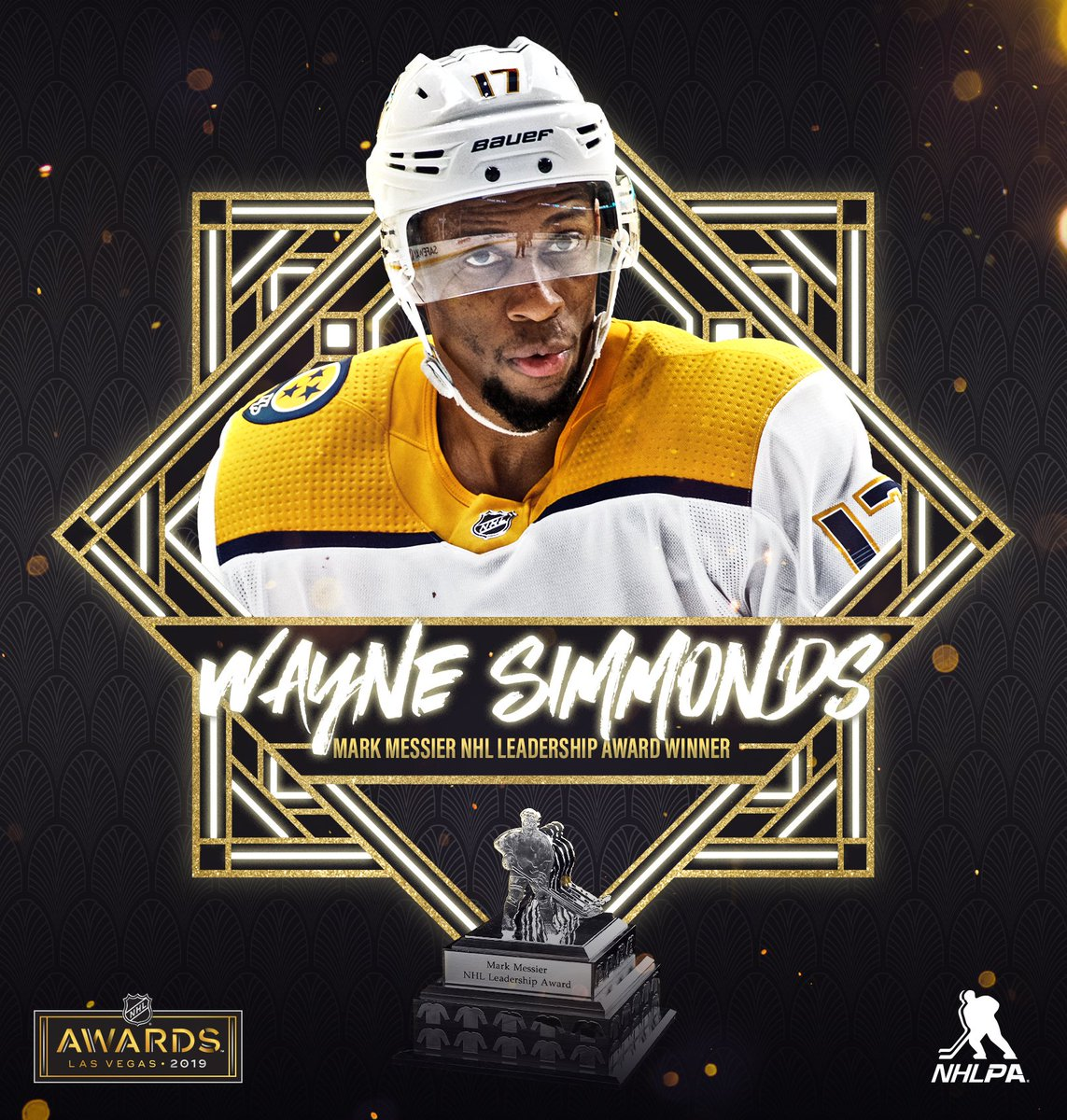 Congratulations to @Simmonds17 on receiving the Mark Messier NHL Leadership Award for growing the game of hockey in his community and exemplifying leadership qualities to his team both on and off the ice! #NHLAwards<br>http://pic.twitter.com/SVQZbV8TVJ
