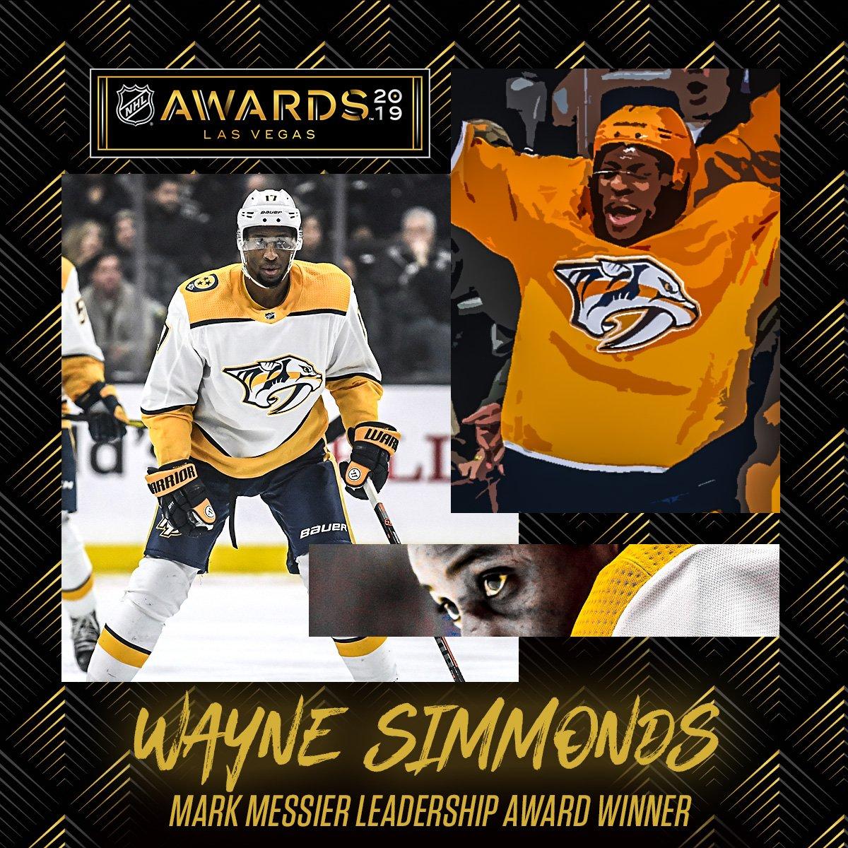 All aboard the Wayne Train!   Your 2019 Mark Messier Leadership Award Winner: @Simmonds17.<br>http://pic.twitter.com/fLnSBqufu9