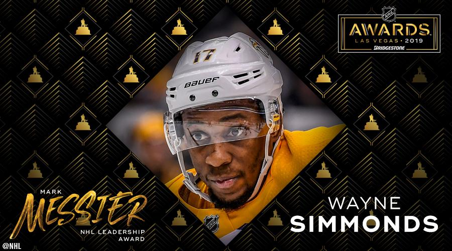After tallying the votes, Wayne Simmonds has locked up the Mark Messier Leadership Award. #NHLAwards<br>http://pic.twitter.com/Vw2mkjKlu9