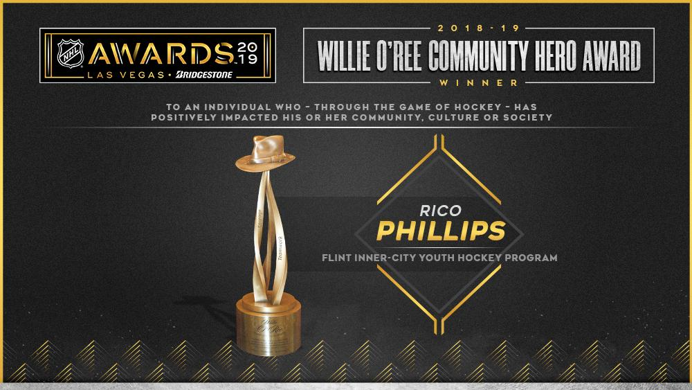 Rico Phillips of Flint Inner-City Youth Hockey Program receives Willie O'Ree Community Hero Award. media.nhl.com/public/news/13… #NHLAwards