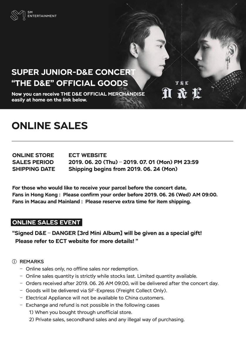 """📢SUPER JUNIOR-D&E CONCERT """"THE D&E"""" in Hong Kong - Official Merchandise Online Sales Notice Receive your goods easily at home, and grab the chance to get autographed CD! More info👉bit.ly/2ZxwUv1 📍Online Store: ect.com.hk/dne2019 #SuperJuniorDnE #TheDnE #HongKong"""
