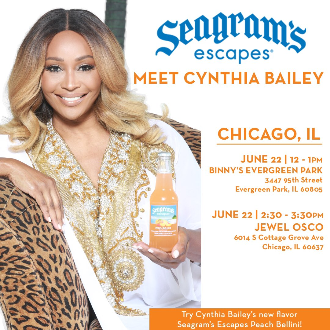 CHICAGO, IL & ST. LOUIS, MO: Meet me in your city on the dates/times listed on flyers. Come and try my Seagram's Escapes Peach Bellini. I hope to see you there! 🍑