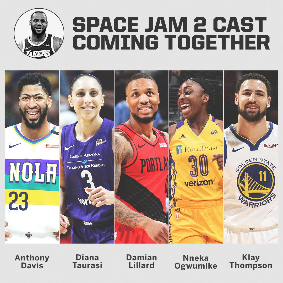 The cast of Space Jam 2 will include:  • Anthony Davis • Damian Lillard • Nneka Ogwumike • Chiney Ogwumike • Chris Paul  • Diana Taurasi • Klay Thompson   (via multiple reports)