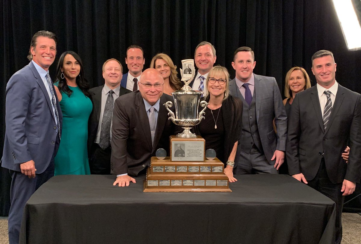 """""""We before me.""""  Barry Trotz practices what he preaches. To him, the Jack Adams is a team award, so he brought his #Isles coaching staff and their families out to the #NHLAwards to celebrate with him."""