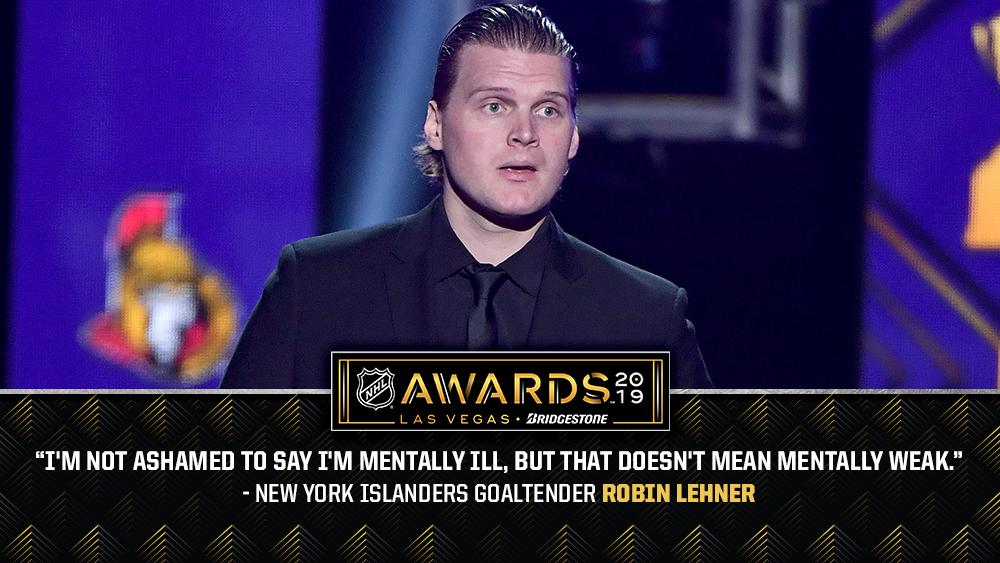 Powerful words from @NYIslanders goaltender @RobinLehner. Watch his Bill Masterton Memorial Trophy acceptance speech: atnhl.com/2XnfT9C #NHLAwards