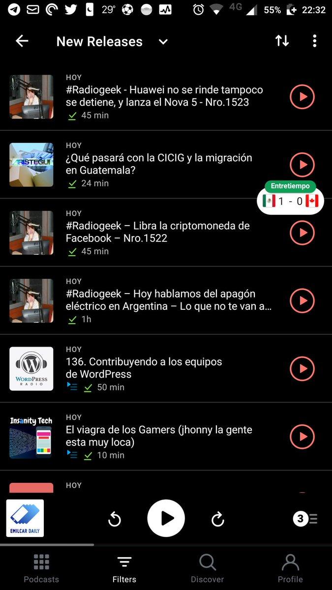 Algo pasa cuando tú podcatcher te dice que tienes tres capítulos de #RadioGeek en un solo día // gracias @arielmcorg