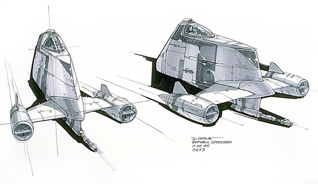 """A Republic Spaceship concept. I always liked it because it was odd and funky 😁"" - Lucasfilm executive creative director Doug Chiang #StarWars #ThePhantomMenace instagram.com/p/By6ryqpDD96/"