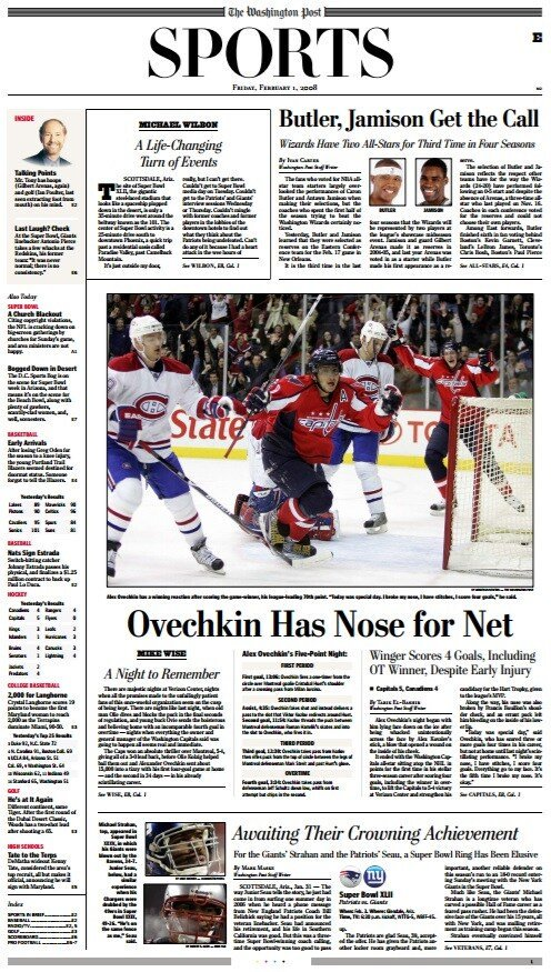 #Caps Alex Ovechkin & #Nats Max Scherzer. Two of the greatest athletes in DC sports history. Both delivered a vintage game w a broken nose. Fortunately, @PostSports Nose headlines Jan.31: 2008: Ovi 4G/1A in 5-4 OT win vs MTL June 19,2019: Max: 7IP, 0ER, 10K in 2-0 W vs PHI