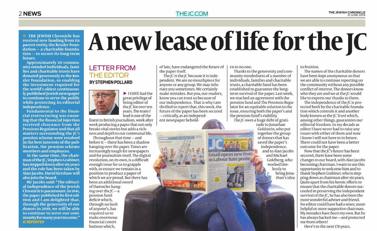 Some important and excellent news regarding the future of @JewishChron