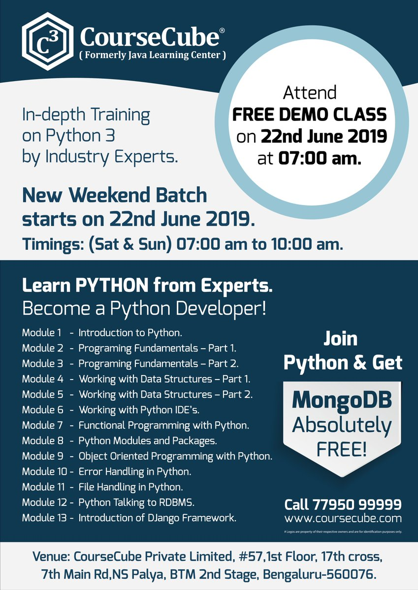 New Weekends Python 3 Batch is starting from 22-June-19