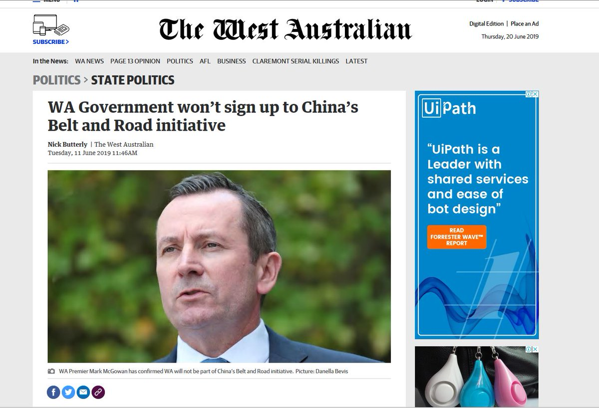 Western Australia: This is what happens when you decline to join the BRI. You get left off the party invitation list. New Perth PRC Consul General  Dong Zhihua throws a bash for the opposition  h/t @WLYeung  http://perth.chineseconsulate.org/eng/notc/t1672348.htm…