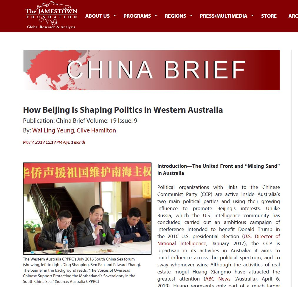 Western Australia: For those interested in PRC efforts to influence Western Australian politics, some essential reading here:   #auspol https://jamestown.org/program/how-beijing-is-shaping-politics-in-western-australia/…