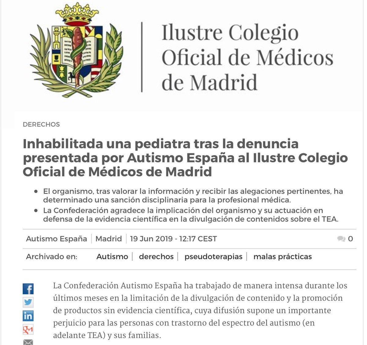 Inhabilitada una pediatra por difundir en medios de comunicación la tesis de que la vacunación provoca autismo e incitar a niños y embarazadas a no vacunarse http://www.autismo.org.es/actualidad/articulo/inhabilitada-una-pediatra-tras-la-denuncia-presentada-por-autismo-espana-al…