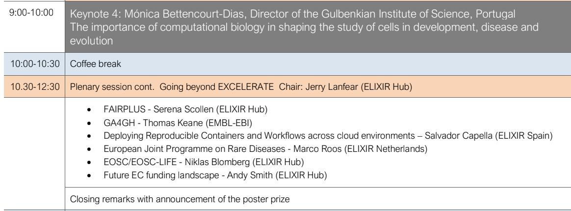 Good morning all! This last day of #ELIXIR19, we have a plenary session with the 4th keynote, and then after the break a series of talks 'Going beyond EXCELERATE'.