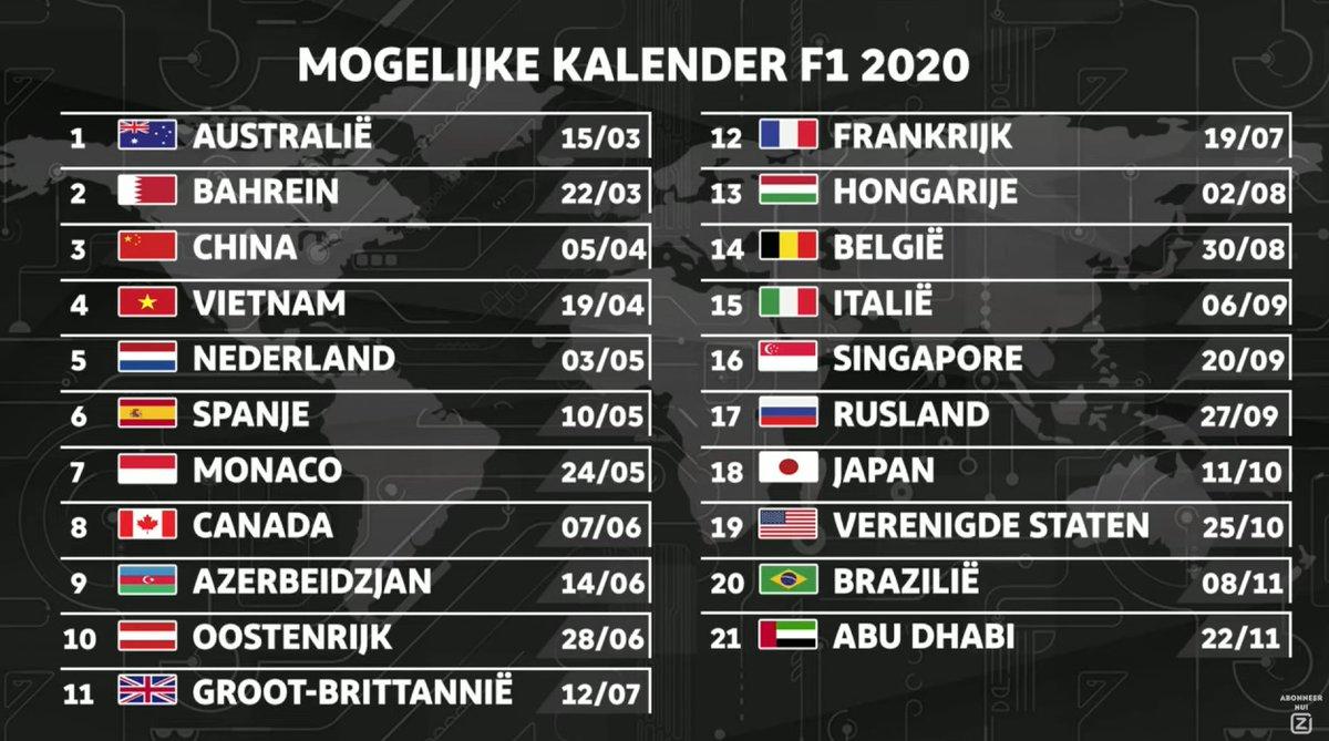 Ciclismo 2020 Calendario.Calendario F1 2020