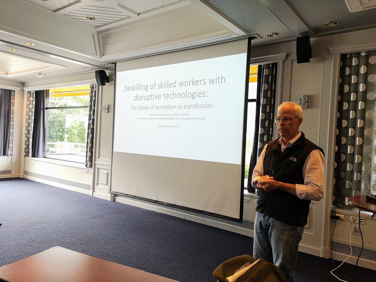 Rich Lings closing keynote at #volda_symposium19: Deskilling of skilled workers with disruptive technologies - The future of journalism as a profession. @richling  https://www. hivolda.no/forsking/forsk ingsgrupper/symposium-media-professions-and-society  … <br>http://pic.twitter.com/bPSeculFyK