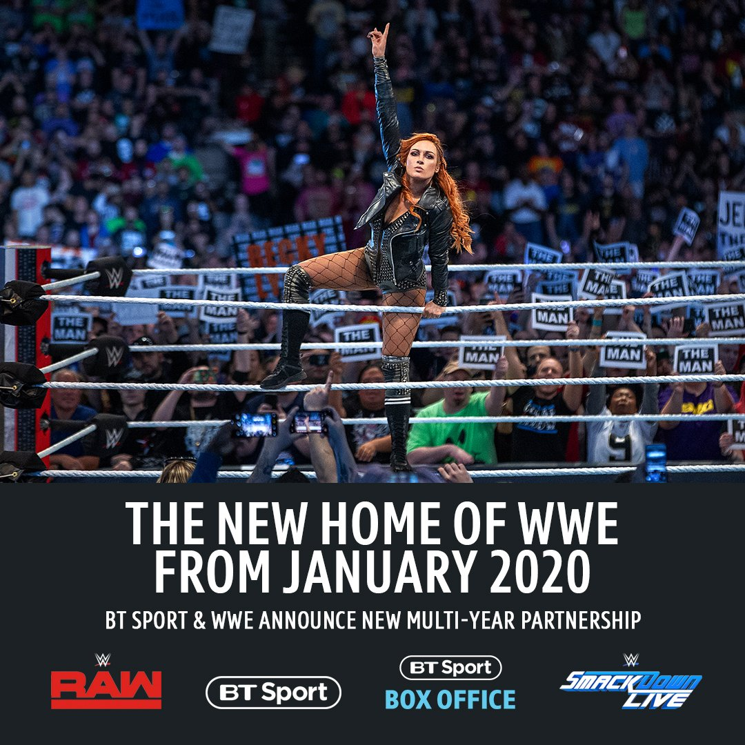 🚨 ANNOUNCEMENT 🚨  BT Sport will be the new home of WWE in the UK and Ireland from January 2020.  Raw 🔴🔥 SmackDown 🔵👊  WWE's monthly pay-per-view events, including WrestleMania, will be available on BT Sport Box Office.