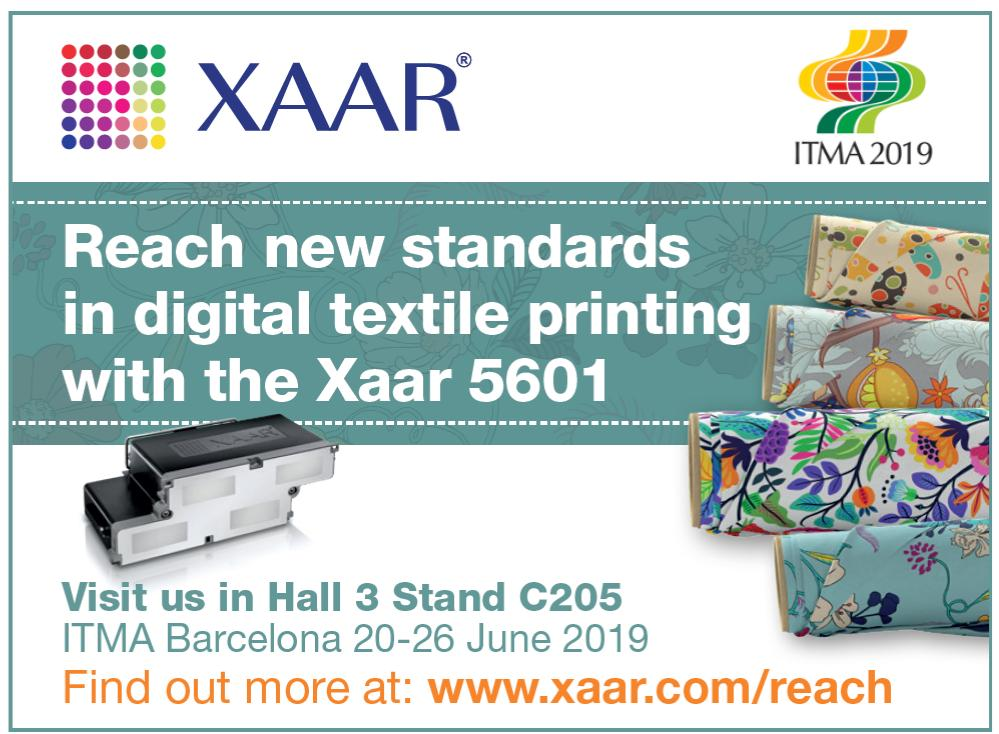 Visit the #Xaar stand Hall 3 stand C205 at #ITMA2019 and