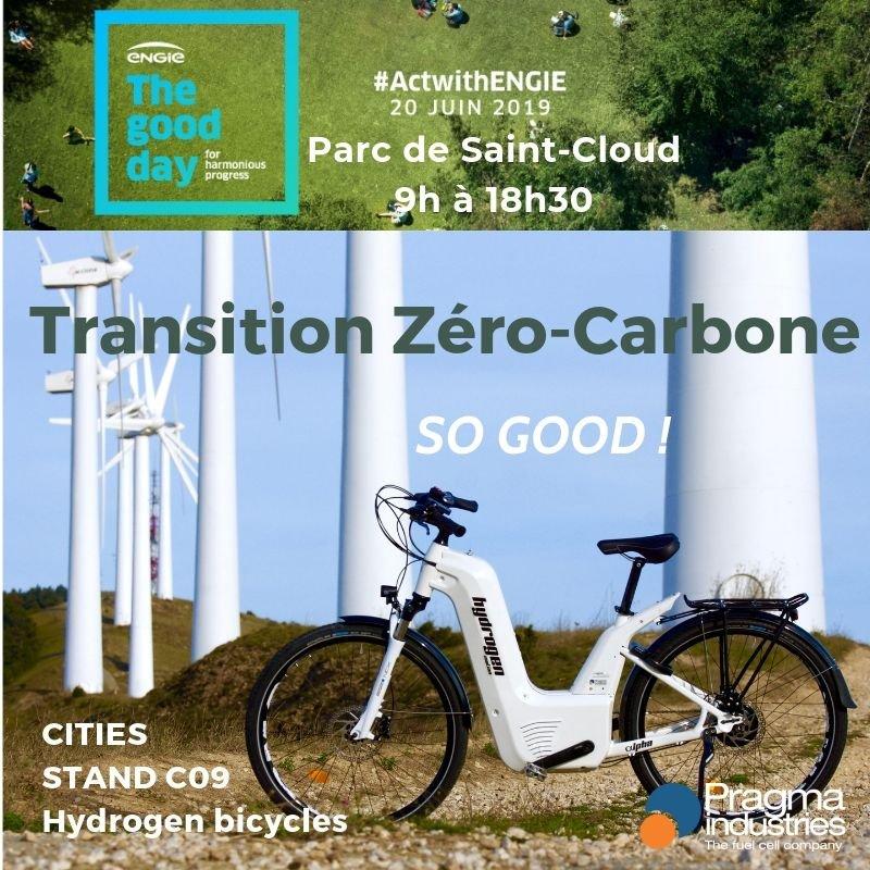 The good day  Pragma Industries invité d' @engie 20 juin 2019 Stand C09 Echange et partage d'une vision de la transition zéro-carbone  ENGIE à l'initiative de cette 1ère édition.  So Good!😎  #ActwithENGIE #H2bike #H2now #ecomobilite #hydrogen #veloHydrogene #fuelCell #Mobility