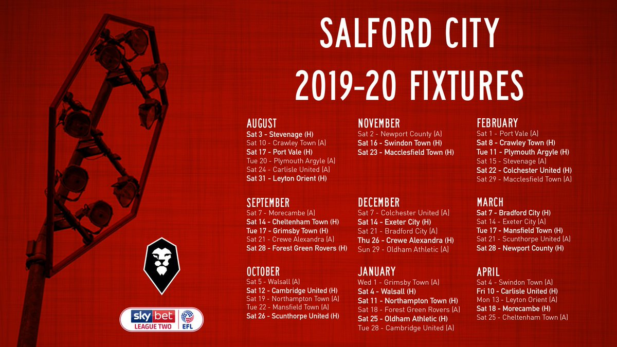 Here are our 2019-20 @SkyBetLeagueTwo fixtures in full!  👉 https://t.co/uNSsCZxhUC  #WeAreSalford 🦁🔴 https://t.co/2QOqnLCMjM