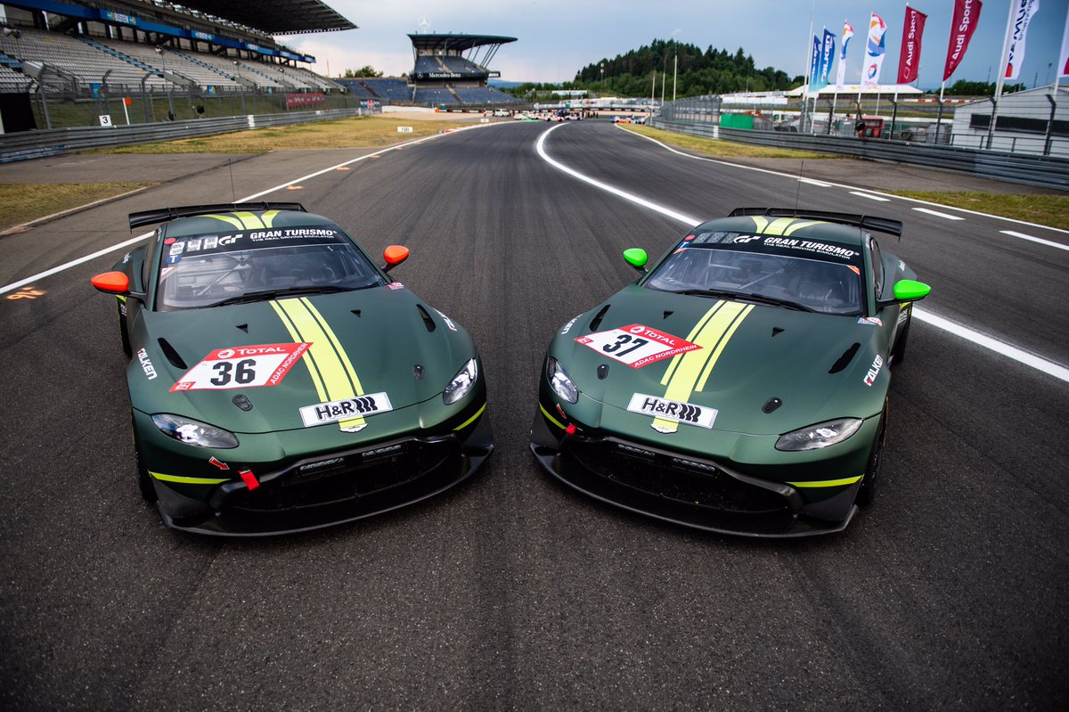 Our two whips for @24hNBR Its time to give the @AMR_Official GT4's their  debut 24hr race. Love this race so much. Proper crazy and every lap is a mini adventure. #AstonMartin #Vantage #GT4 #N24h