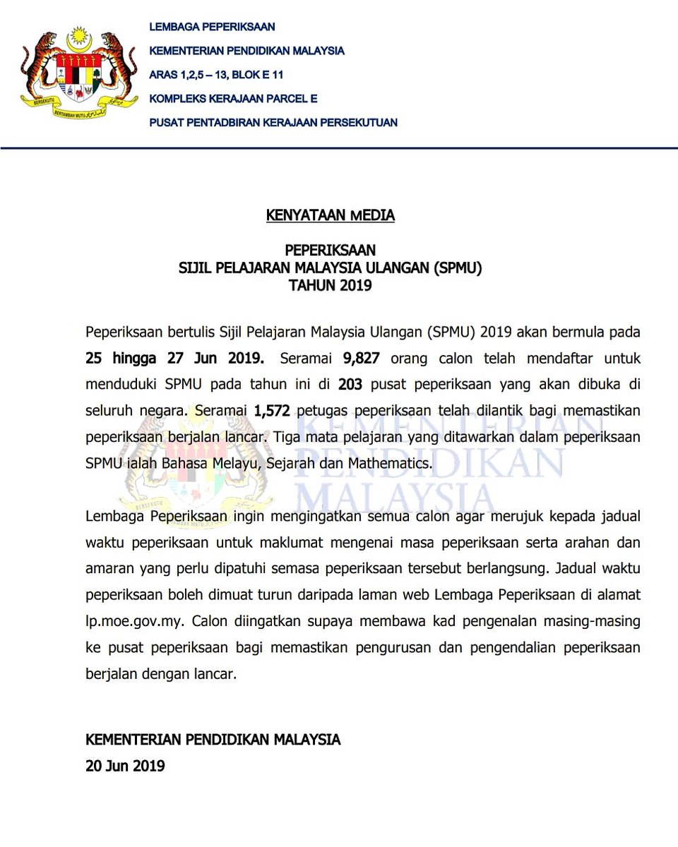 kpm على تويتر kenyataan media rasmi kementerian pendidikan malaysia kpm berkaitan peperiksaan bertulis sijil pelajaran malaysia ulangan spmu 2019 pada 25 hingga 27 jun 2019 chedetofficial drwanazizah maszlee teonieching mohdgazaliabas sijil pelajaran malaysia ulangan spmu