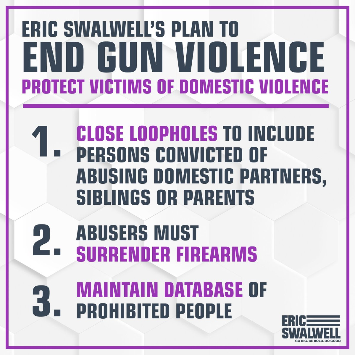 We cannot allow domestic abusers to carry firearms.  For more on our comprehensive plan to end gun violence, go to http://ericswalwell.com/endgunviolence