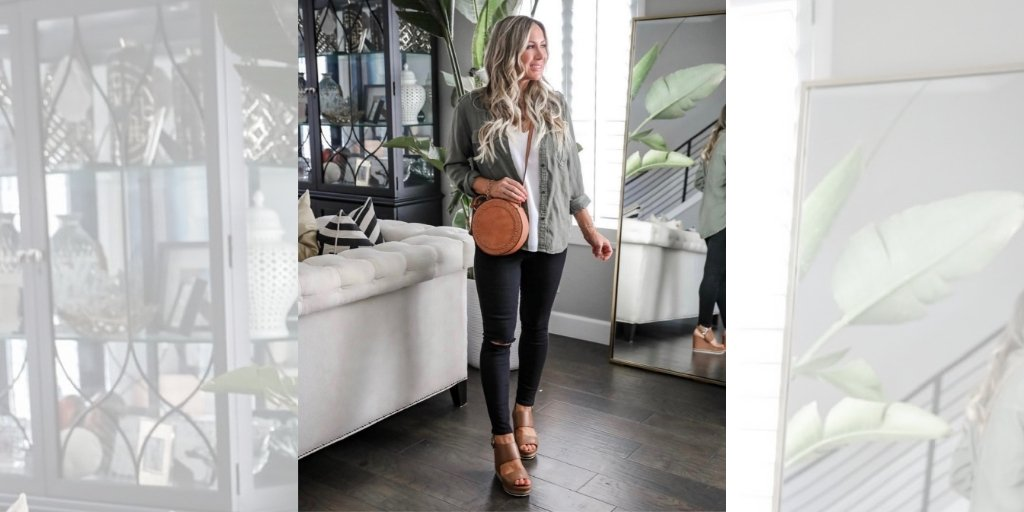 dc0f9287ed85 Kim is stylin' her ERIKA high platform wedge sandals with her go-to black  denim and cargo jacket. . SHOP:http://ow.ly/5jCq50uGyuN | @LINEAPaoloShoes  ...