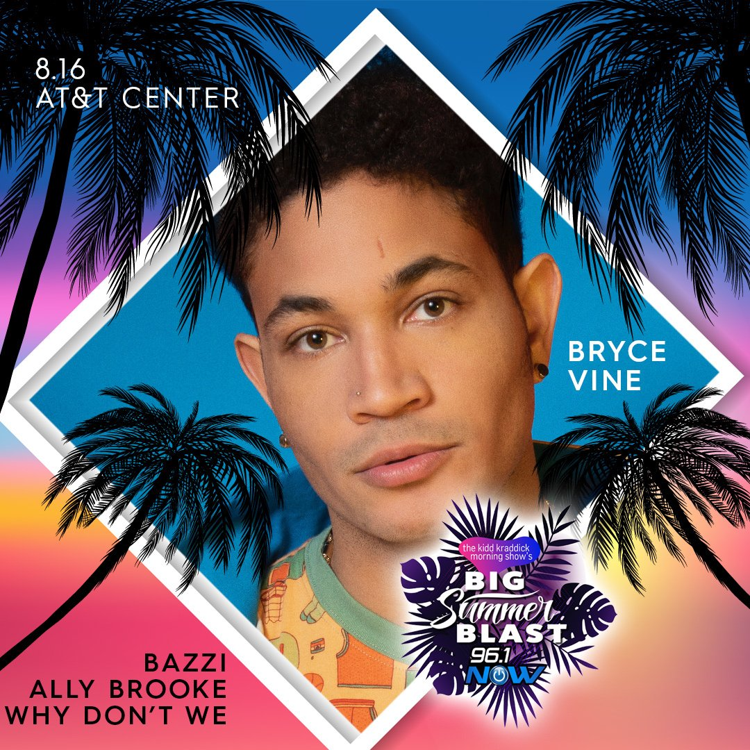 Venue presale tickets are available now for 96.1 NOW @KiddNation's #BigSummerBlast with @BryceVine, @AllyBrooke, @bazzi and @whydontwemusic! ☀️ Get yours until tonight at 10PM using code BSB.  🎟: http://bit.ly/BigSummerBlast