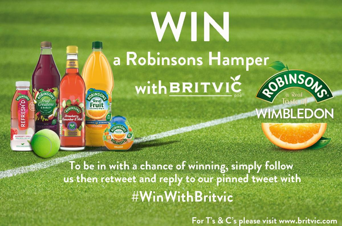 COMPETITION TIME! We have 10 @DrinkRobinsons themed hampers to #giveaway to get you ready for #Wimbledon. Follow us, then simply retweet and reply to this post using #WinWithBritvic by midday 27th June for a chance to #WIN 18+ UK only, T&C's apply http://ora.cl/57lZ5