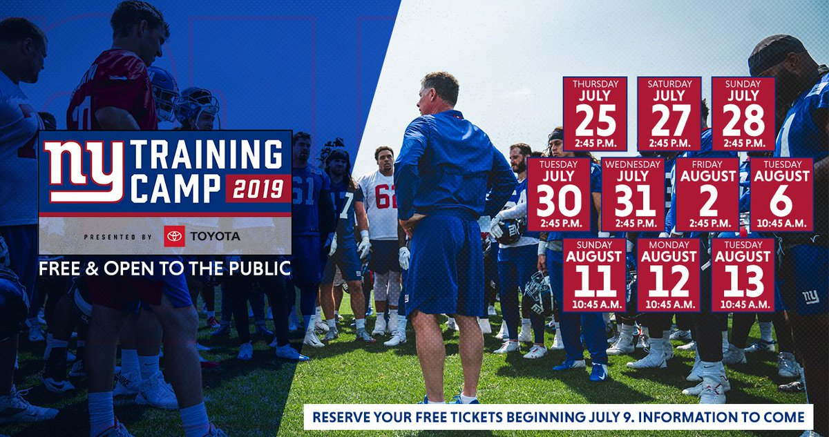 Mark your calendars. The 2019 training camp schedule has arrived and is free and open to the public! 🗓  Details → https://bit.ly/31Krmzj