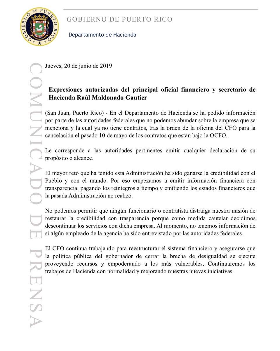En el @DptoHacienda se ha pedido información por parte de las autoridades federales que no podemos abundar sobre la empresa que se menciona y la cual ya no tiene contratos, tras la orden de la OCFO para la cancelación el pasado 10 de mayo de los contratos que estan bajo la OCFO