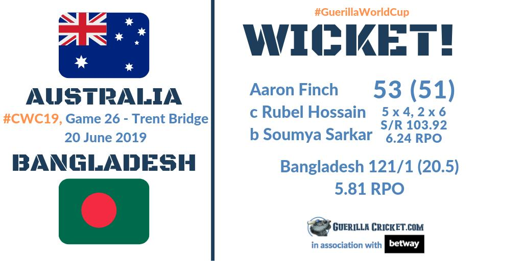 What do Shadab Khan, #AaronFinch, and absolutely nobody else, have in common? They've got out in ODIs to Bangladesh's own Officer Dibble Soumya Sarkar! A nondescript ball nudged straight to short third man!Usman Koala at 3. 🐨#AUSvBAN🏏🇦🇺🇧🇩#GuerillaWorldCup#CWC19