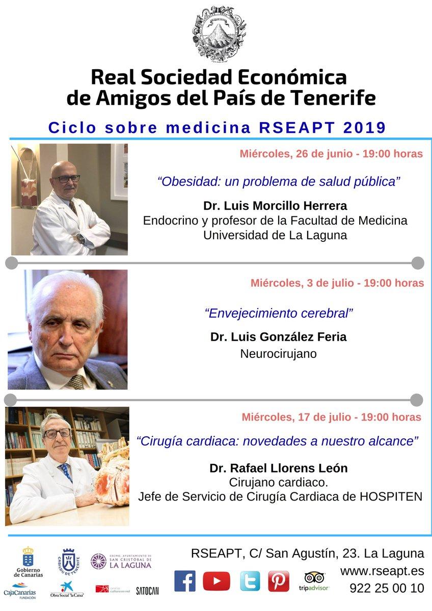 Próximamente, Ciclo de #medicina @RSEAP_Tenerife 2019  #obesidad #envejecimiento #cerebro #cirugía #cardio