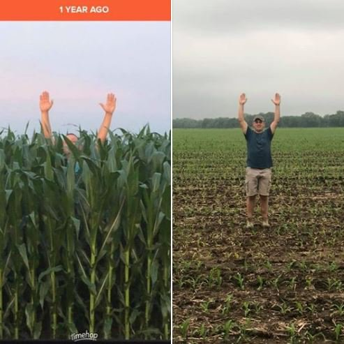 Many Hoosier farmers are finally getting their crop planting done this week — but these viral then-and-now photos are giving others a glimpse at the crisis those farmers are facing this year because of all of the rain.
