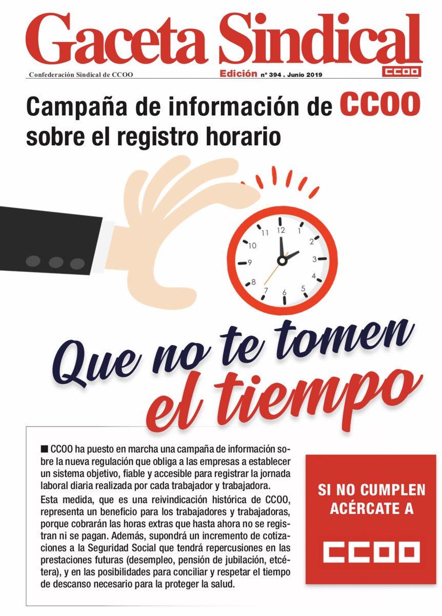 Todo lo que tienes que saber sobre la nueva regulación horaria y tu jornada laboral ⏱ ccoo.es/noticia:388516… … #QueNoTeTomenElTiempo Si no cumplen, acércate a tu sindicato❗️