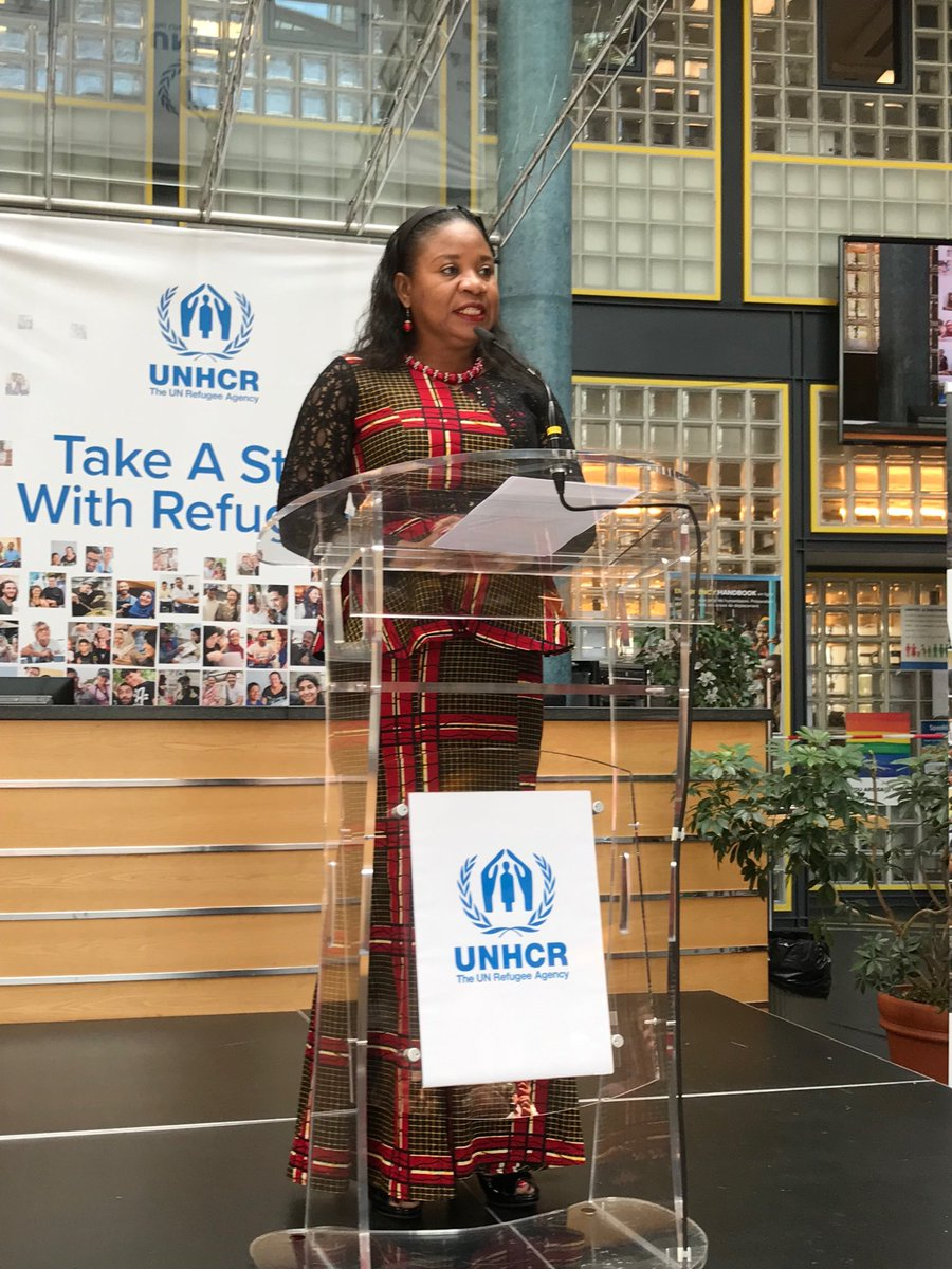"""#WorldRefugeeDay2019 - @AngeleDikongue outlines generous hospitality of many African countries in hosting millions of #refugees over many decades.  """"Forced displacement is an issue for shared humanity to address to benefit future generations."""""""