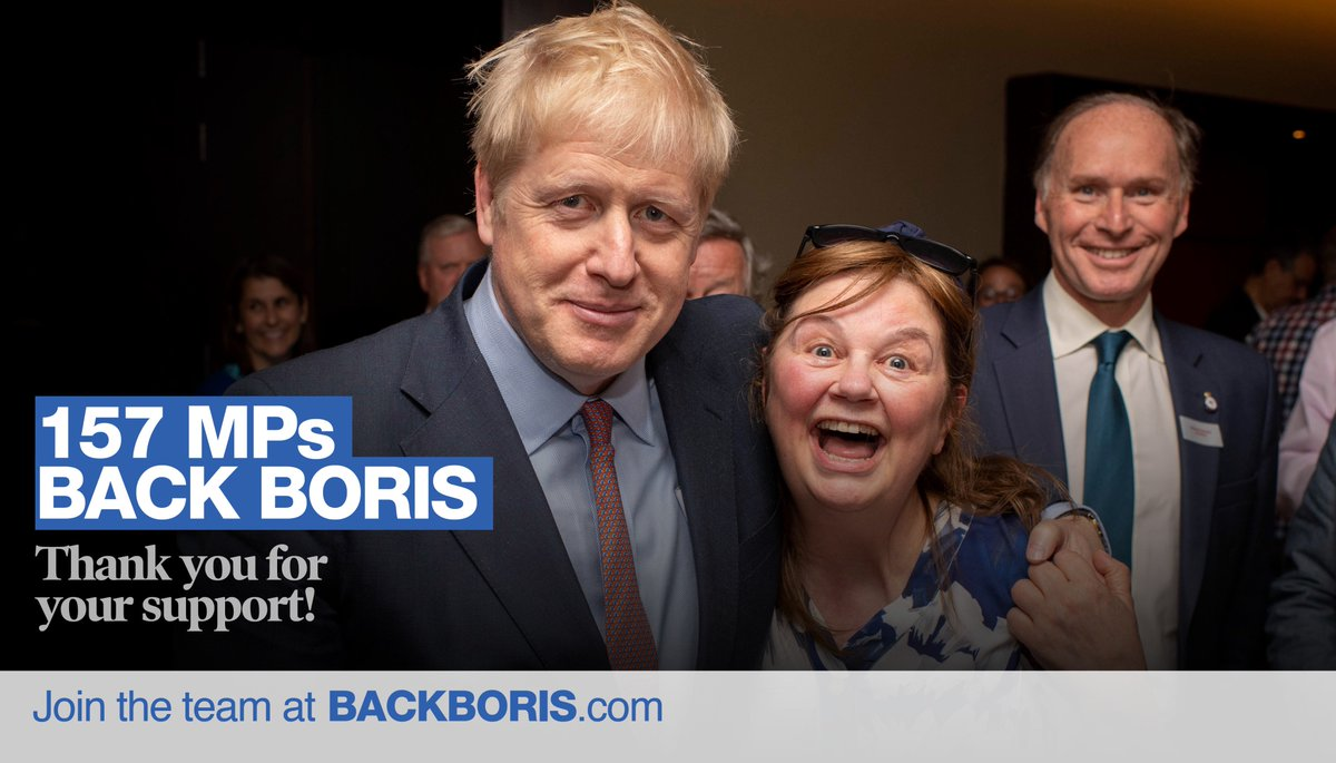 Delighted to have the support of over half of all Conservative MPs in the fourth ballot. I am incredibly grateful, but we have much more work to do. Join the #BackBoris team 👉 backboris.com