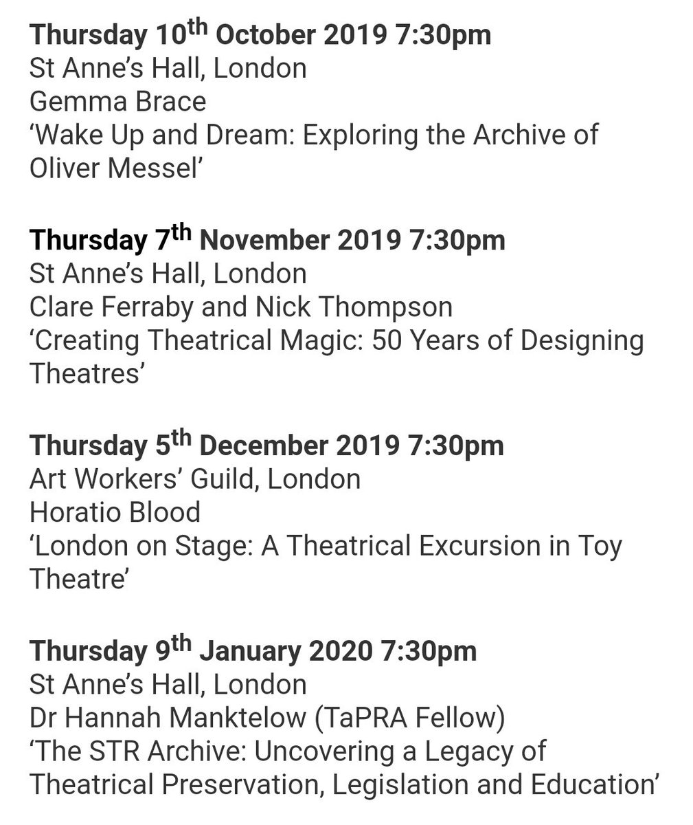 A wonderful free Lecture Series for 2019/2020 from @TheSTR! More info: str.org.uk/events/lecture…