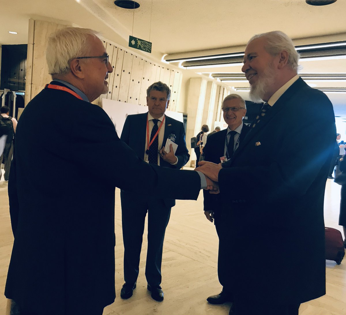 Two former @ilo DGs meet again, Juan Somavia and Michel Hansenne catch up before a fascinating discussion with @GuyRyder at #ILC2019 #ILO100
