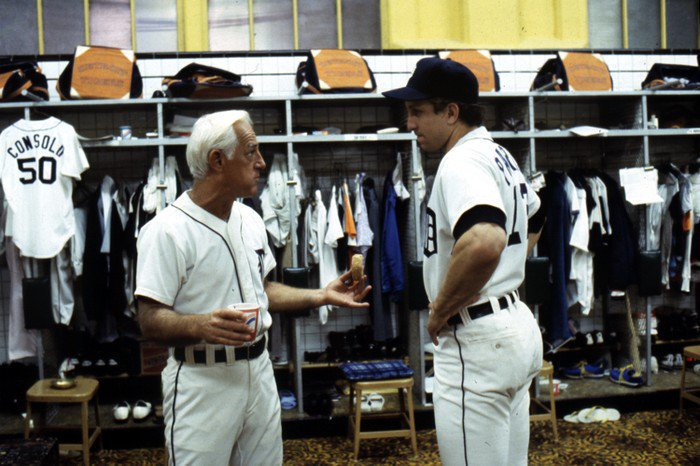 #TBT Sparky Anderson and Lance Parrish in the #TigerStadium clubhouse, circa 1980 #ThatCarpet (Detroit News photo)