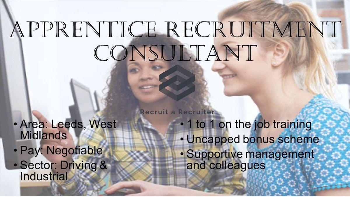 Please contact info@recruitarecruiter.co.uk now for more information now  #Leeds #RecruitmentConsultant #Apprentice #Recruitment