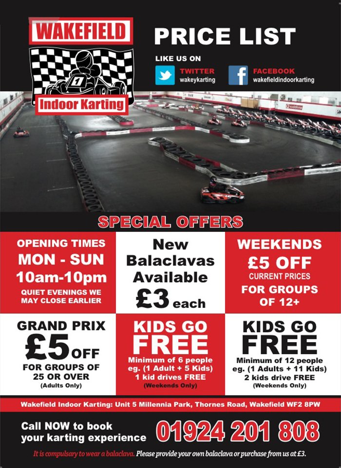 Don't miss out on these amazing offers at Wakefield Indoor Karting! 🏎️ 🏁  Call 01924 201808 to book your next #karting session.  http://ow.ly/BVWw30nvVqj #Wakefield   #GrandPrix #CorporateEvents #KidsActivities #JuniorRaceSchool #Leeds #BizHour