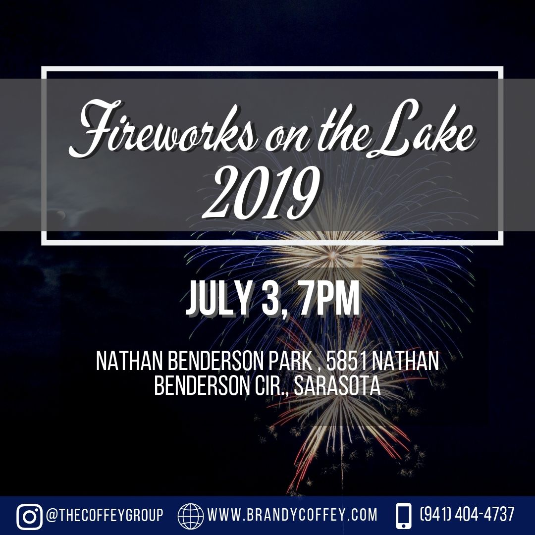 Celebrate Independence Day a night early with music, food, concessions and a sky show on the water.   #sarasota #florida #lake #fireworks #celebration #skyshow #music #food #concessions #patriotic